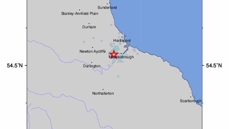 Locals reported feeling the tremor across Teesside Pic: USGS