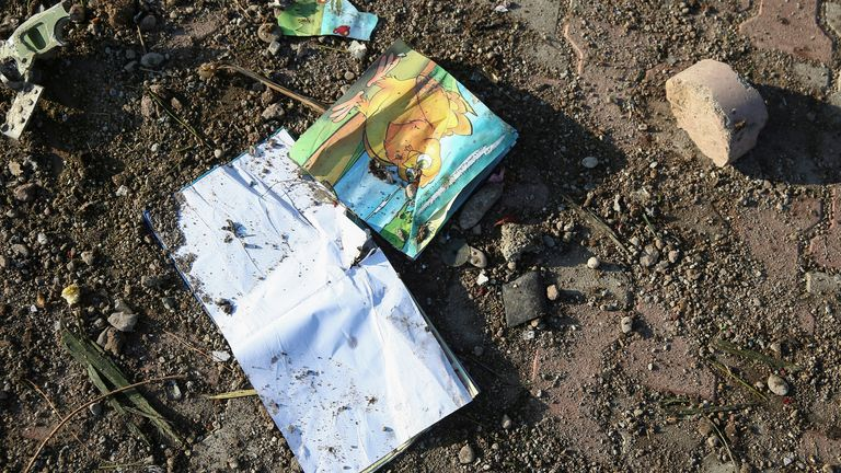 A child's book was among the wreckage