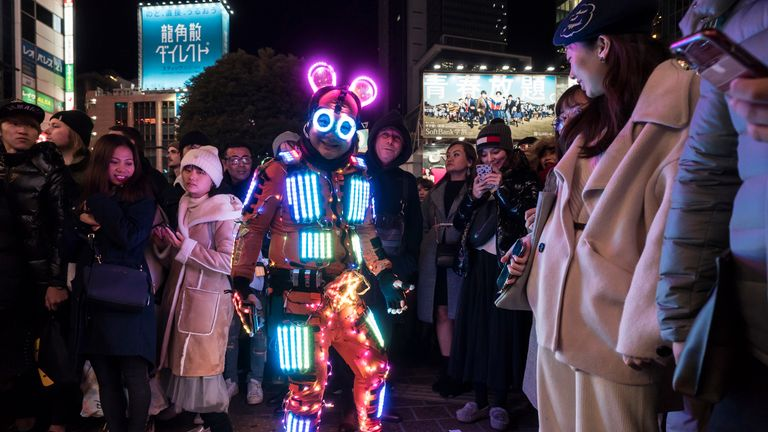 Quirky mascots were out in force for celebrations in Tokyo