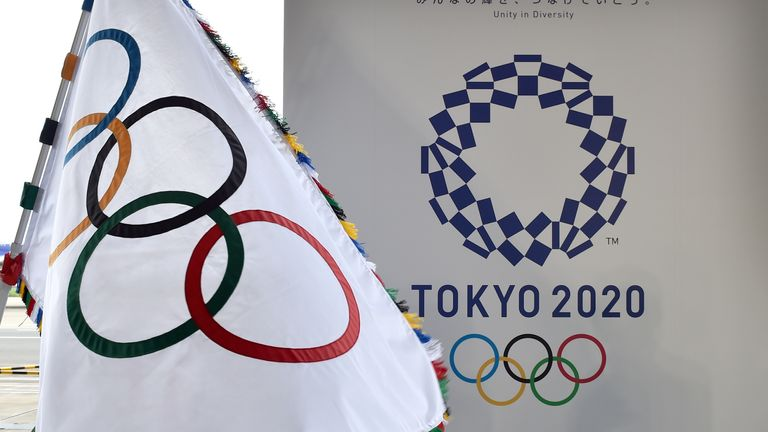 The Olympic flag and the logo of Tokyo 2020 during the official flag ceremony in 2016