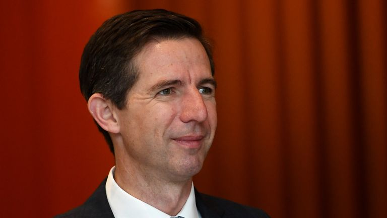 Minister for Trade, Tourism and Investment Simon Birmingham at the Melbourne Convention and Exhibition Centre during the Liberal Campaign Launch on May 12, 2019 in Melbourne, Australia
