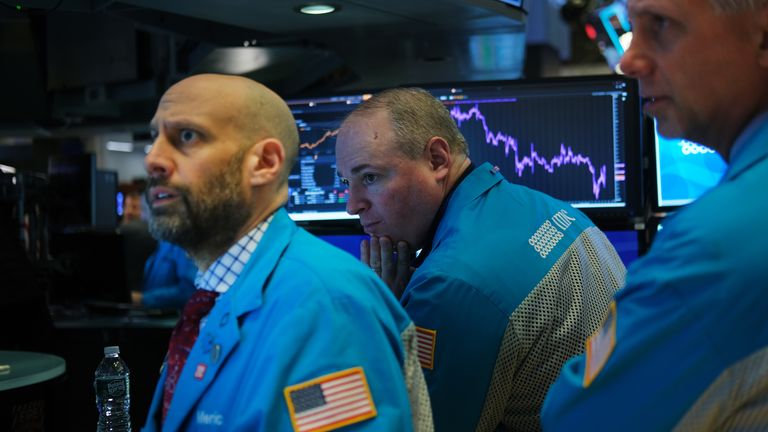 Traders work on the floor of the New York Stock Exchange (NYSE) on January 27, 2020 in New York City. U.S. stocks fell sharply in morning trading as fears over the spreading coronavirus continue to unsettle global markets.