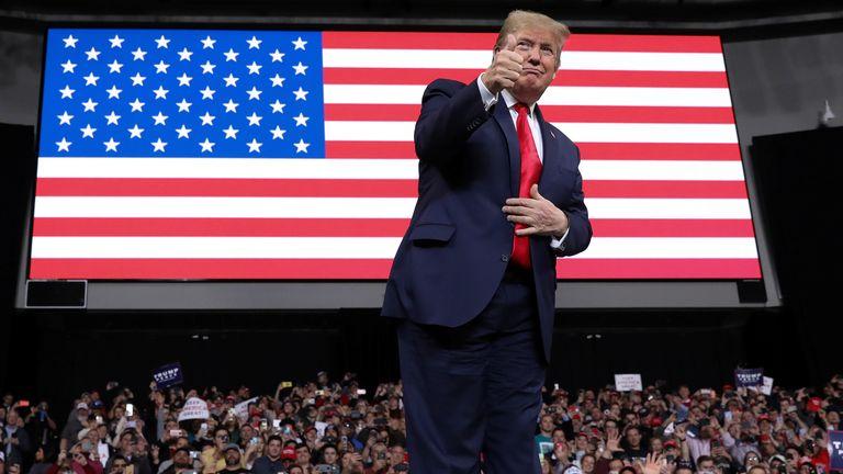 U.S. President Donald Trump rallies with supporters in Toledo, Ohio