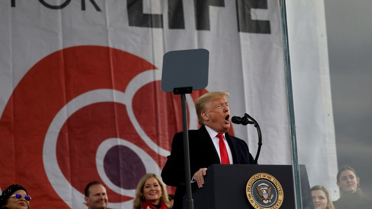 U.S. President Donald Trump addresses the 47th annual March for Life in Washington, U.S., January 24, 2020. REUTERS/Leah Millis
