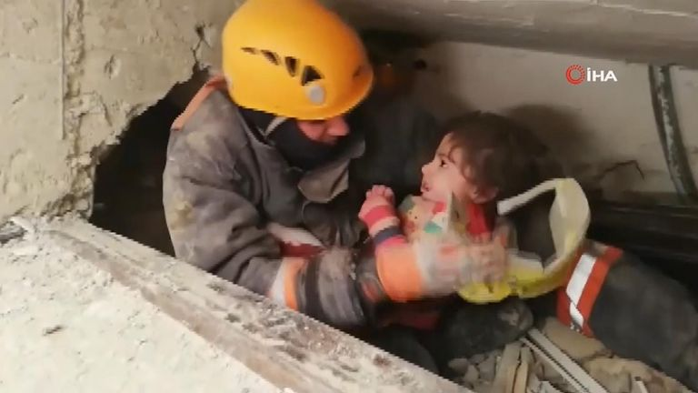 A girl and her mother were pulled from the rubble of an apartment building, more than 24 hours after an earthquake struck Turkey