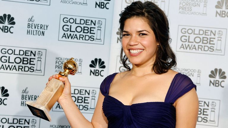 Ugly Betty star America Ferrera at the Golden Globes in 2007