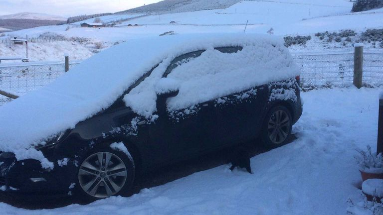 Snow in Airdrie, North Lanarkshire. Pic: @ALancashirelad/PA