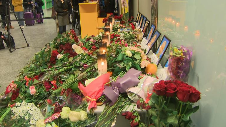 Flowers and other tributes to the victims