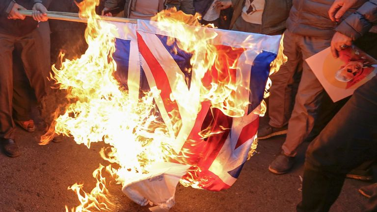 Union flag set on fire