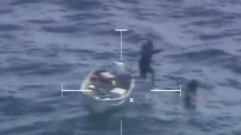 A Coast Guard helicopter located the man in his 14-foot skiff, which reportedly ran out of gas.