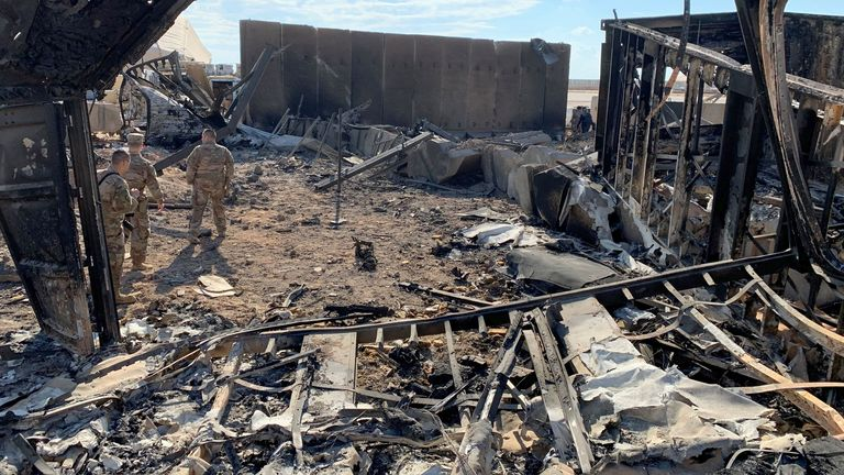 A view of the damage at Ain al-Asad military airbase housing US and other foreign troops