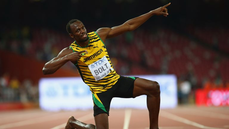Usain Bolt during day six of the 15th IAAF World Athletics Championships Beijing 2015 at Beijing National Stadium on August 27, 2015 in Beijing, China