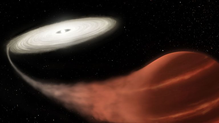 "An artist's impression issued by NASA of a ""vampire"" system. Pic: L. Hustak/NASA/STScI/PA"