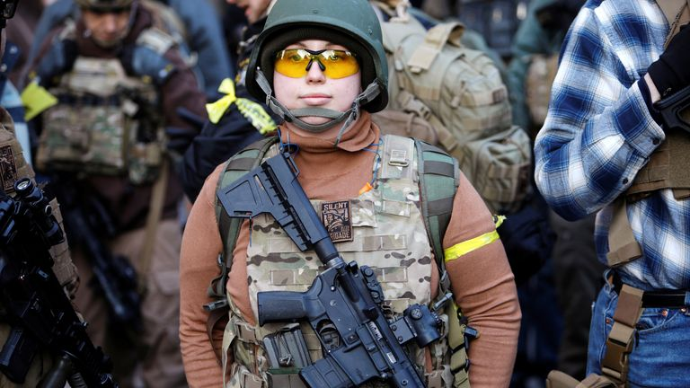 An armed militia member at a gun rights rally near Virginia's Capitol, in Richmond