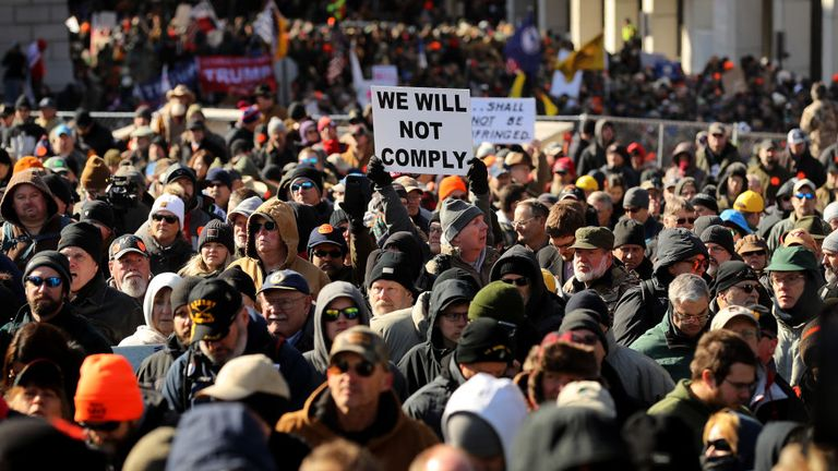 Thousands of gun rights advocates attend a rally organized by The Virginia Citizens Defense League