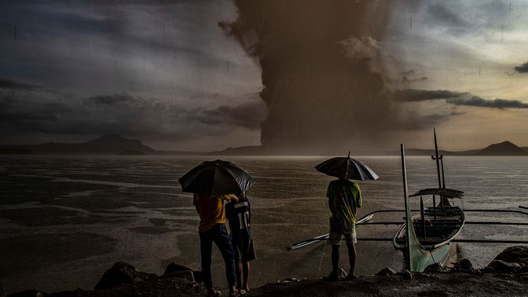 Taal volcano has erupted in Talisay, Batangas province, in the Philippines