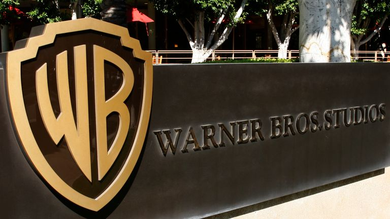 The Warner Bros logo outside the Warner Bros Studio lot in Burbank, California
