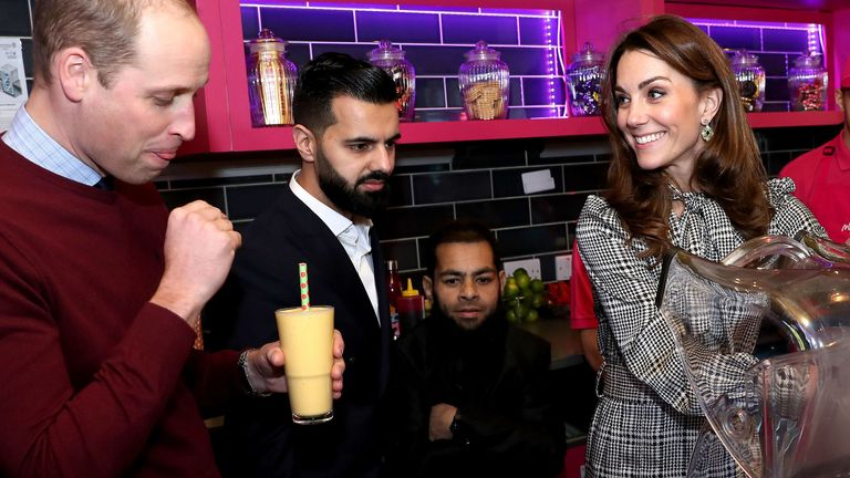 The Duke and Duchess of Cambridge helped make Kulfi milkshakes at MyLahores restaurant