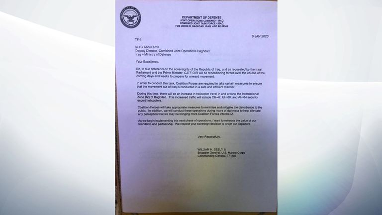 The letter from Brig Gen William Seely says the US will be 'repositioning forces'
