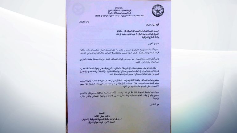 A version of the letter was also created in Arabic