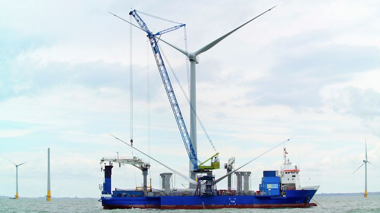 First Nacelles onboard the sea energy arrive at the Kentish flats windfarm Whitstable Kent. (Photo by Chris Laurens/Construction Photography/Avalon/Getty Images)