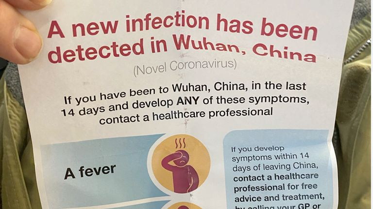Passengers landing in Heathrow from Wuhan were given this leaflet