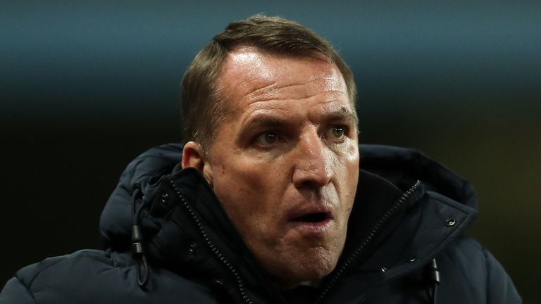 Brendan Rodgers during Leicester's Carabao Cup semi-final defeat to Aston Villa