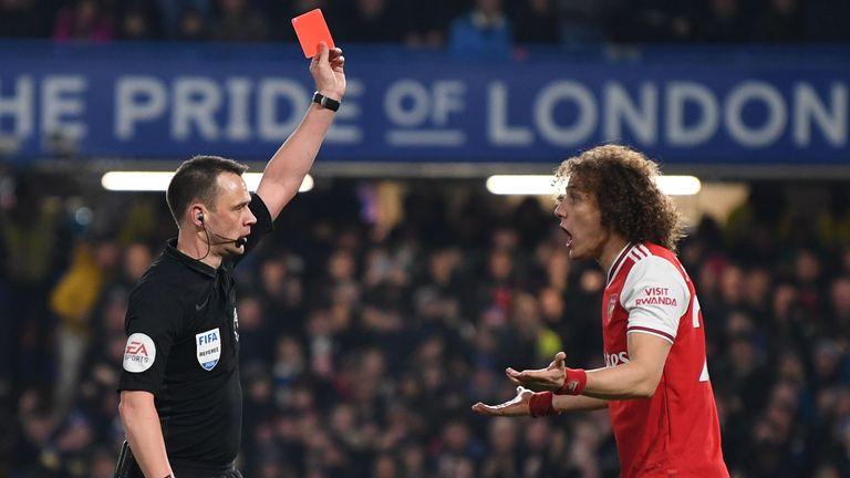 David Luiz is sent off at Stamford Bridge