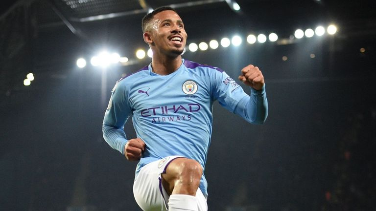 Gabriel Jesus celebrates his second goal