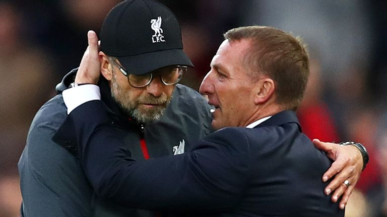 Leicester manager Brendan Rodgers says he's 'delighted' to see his former club Liverpool end their 30-year wait for the title