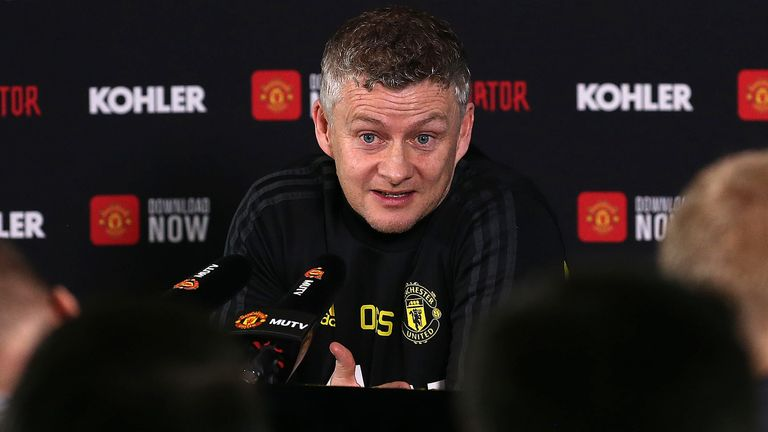 Ole Gunnar Solskjaer speaks during a press conference at Carrington