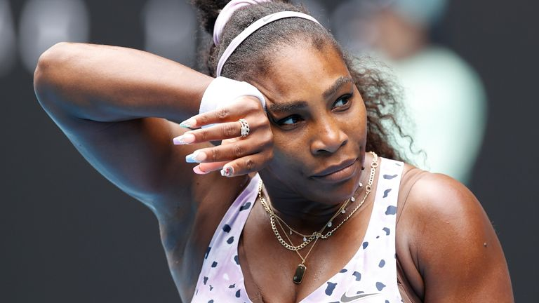 Serena Williams of the United States in action during her Women's Singles third round match against Qiang Wang of China on day five of the 2020 Australian Open at Melbourne Park on January 24, 2020 in Melbourne, Australia