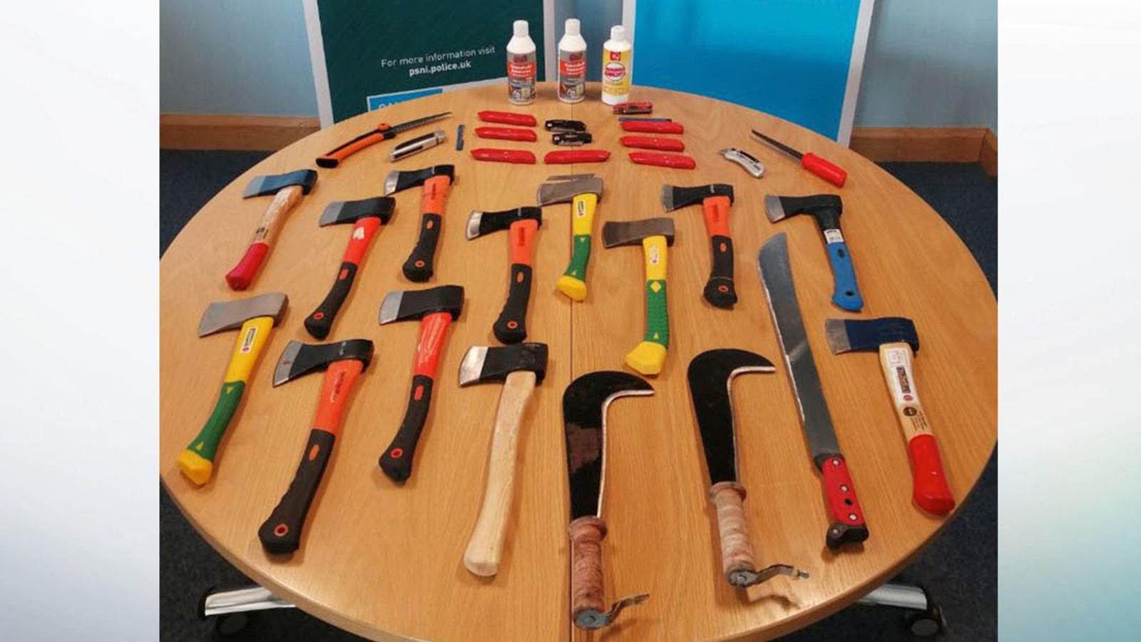 Thirteen hatchets and nine Stanley knives among weapons seized after funeral disturbance