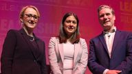 GLASGOW, SCOTLAND - FEBRUARY 15: (L-R) Rebecca Long-Bailey, Lisa Nandy and Sir Keir Starmer pose for photographs after speaking at the Labour leadership hustings on the stage at SEC in Glasgow on February 15, 2020 in Glasgow, Scotland. Sir Keir Starmer, Rebecca Long-Bailey and Lisa Nandy are vying to replace Labour leader Jeremy Corbyn, who offered to step down following his party's loss in the December 2019 general election. Emily Thornberry was eliminated from the race yesterday after failing to secure enough nominations from local constituency parties. (Photo by Robert Perry/Getty Images)