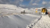 Rail teams clearing snow near Loch Ossian on the West Highland Line in Scotland. Pic: @NetworkRailSCOT