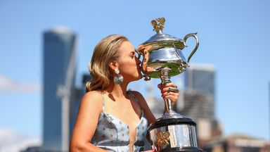 Kenin poses with Australian Open trophy