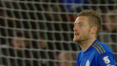 Vardy hits the post (8)