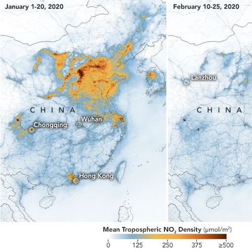 NASA images show coronavirus shutdown has cleared China pollution