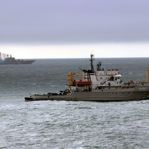 Royal Navy escorts Russian warships through