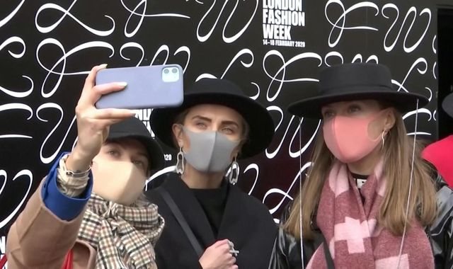 Designer masks at London Fashion Week as coronavirus disruption casts shadow over event