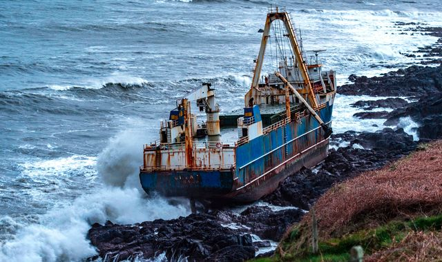Ghost ship brought ashore in Ireland by Storm Dennis