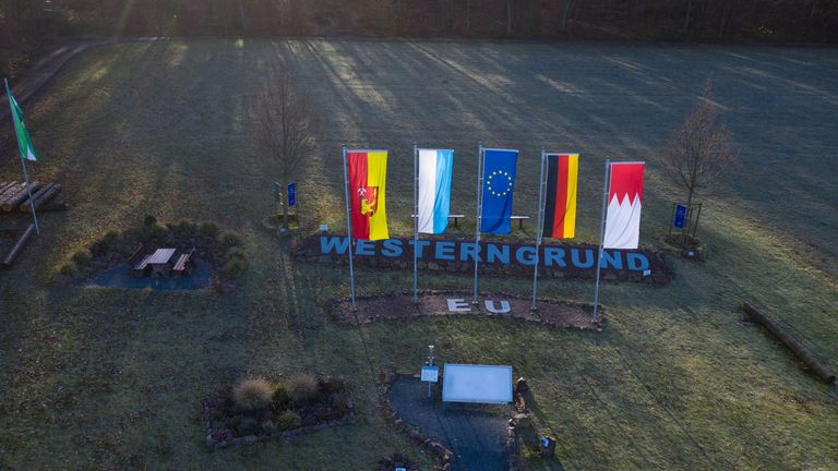 This picture taken with a drone on January 20, 2020, shows the geographic center of the European Union prior to Brexit in Westerngrund, in the North-West of Bavaria, southern Germany. - In the tiny village of Gadheim in northern Bavaria, a lovingly laid out garden marked with regional, German and European flags marks the spot that will stand at the geographic centre of the European Union after Brexit. (Photo by Yann Schreiber / AFP) (Photo by YANN SCHREIBER/AFP via Getty Images)
