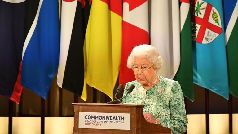Britain's Queen Elizabeth II speaks at the formal opening of the Commonwealth Heads of Government Meeting (CHOGM) at Buckingham Palace in London on April 19, 2018. - Queen Elizabeth II, the Head of the Commonwealth opened the Commonwealth summit for what may be the last time today. (Photo by Dominic Lipinski / POOL / AFP)        (Photo credit should read DOMINIC LIPINSKI/AFP via Getty Images)