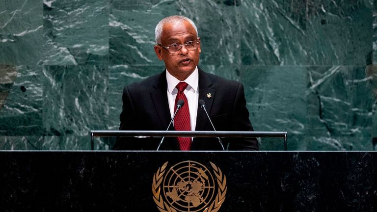 Maldives President Ibrahim Mohamed Solih speaks during the 74th Session of the United Nations General Assembly at UN Headquarters in New York, September 24, 2019. (Photo by Johannes EISELE / AFP)        (Photo credit should read JOHANNES EISELE/AFP via Getty Images)