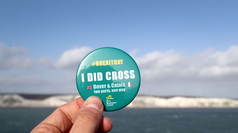 A view of a badge given to travellers crossing the Channel, after the UK left the European Union on Friday, ending 47 years of close and sometimes uncomfortable ties to Brussels.