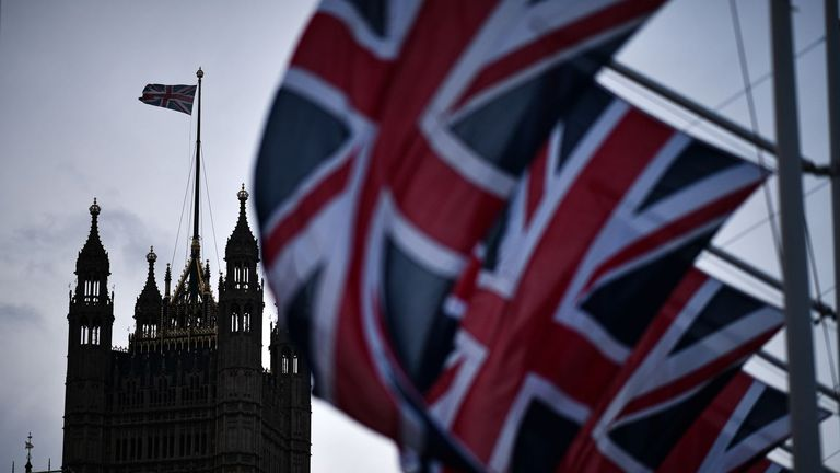 LONDON, ENGLAND - FEBRUARY 01: Union Jack flags hang in parliament square on February 1, 2020 in London, England. Last night Brexit supporters celebrated at 11.00pm as the UK and Northern Ireland exited the European Union, 188 weeks after the referendum on June 23rd, 2016. (Photo by Jeff J Mitchell/Getty Images)