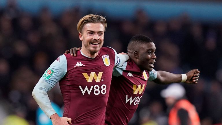 "Soccer Football - Carabao Cup - Semi Final - Second Leg - Aston Villa v Leicester City - Villa Park, Birmingham, Britain - January 28, 2020  Aston Villa's Jack Grealish and Marvelous Nakamba celebrate after the match   REUTERS/Andrew Yates  EDITORIAL USE ONLY. No use with unauthorized audio, video, data, fixture lists, club/league logos or ""live"" services. Online in-match use limited to 75 images, no video emulation. No use in betting, games or single club/league/player publications.  Please contact your account representative for further details."