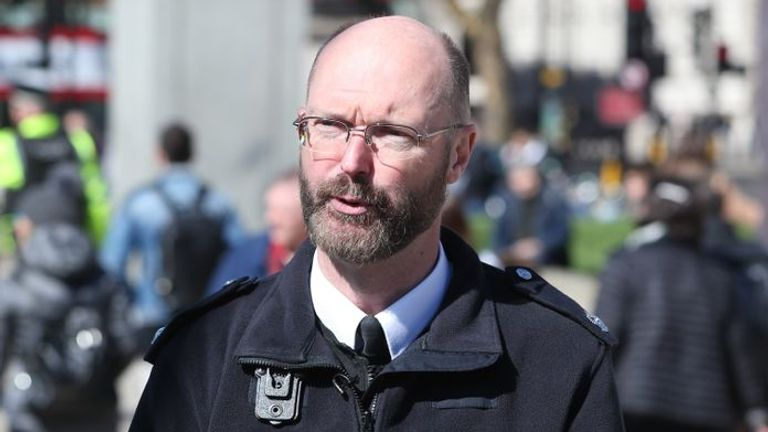 Superintendent Nick Aldworth speaks to the press during the launch of Project Servator, a counter-terrorism scheme in Parliament Square, London.