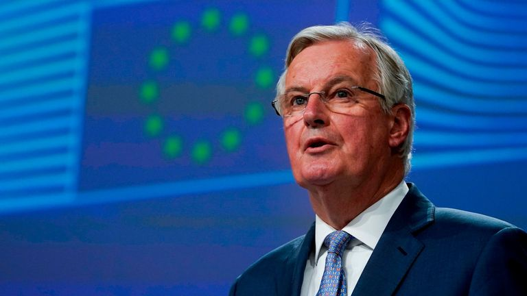 EU Brexit negotiator Michel Barnier gives a press conference on negotiations with UK on on February 3, 2020. (Photo by Kenzo TRIBOUILLARD / AFP) (Photo by KENZO TRIBOUILLARD/AFP via Getty Images)