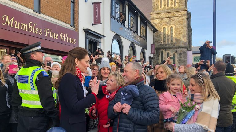 RETRANSMITTED CORRECTING SPELLING OF ALLFORD The Duchess of Cambridge meeting Denise Evans-Allford and Kevin Allford, who taught her at St Andrew's prep school, outside Joe's Ice Cream Parlour on Mumbles Road, near Swansea in south Wales.